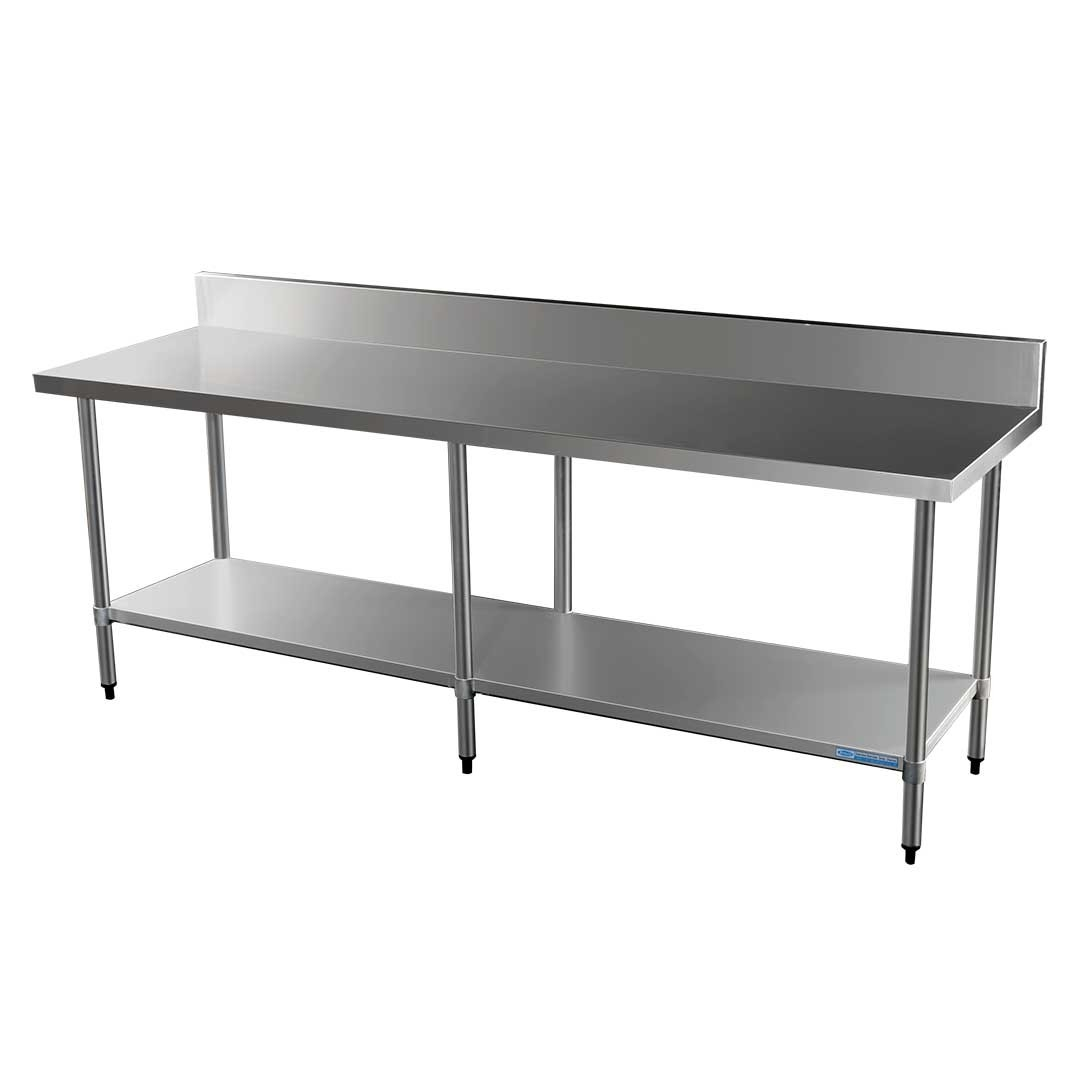 Commercial Grade Stainless Steel Splashback Bench, 2400 X 700 x 900mm high
