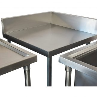 Small Stainless Splashback Corner Bench, matches 700mm sinks and splashback benches. 700 X 700 x 900mm high-0