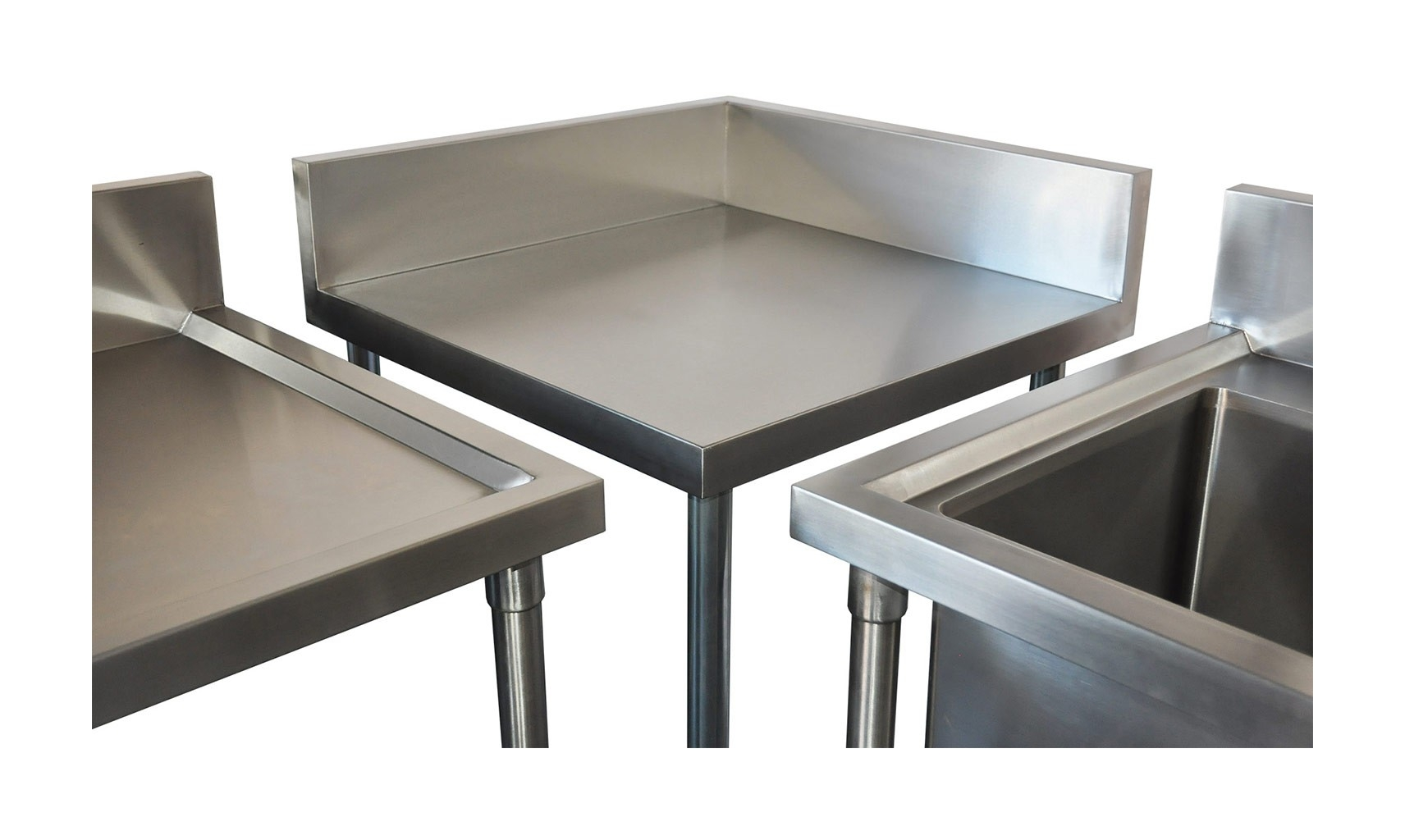 Commercial Grade Stainless Steel Corner 700mm Splashback Bench, 700 X 700 x 900mm high