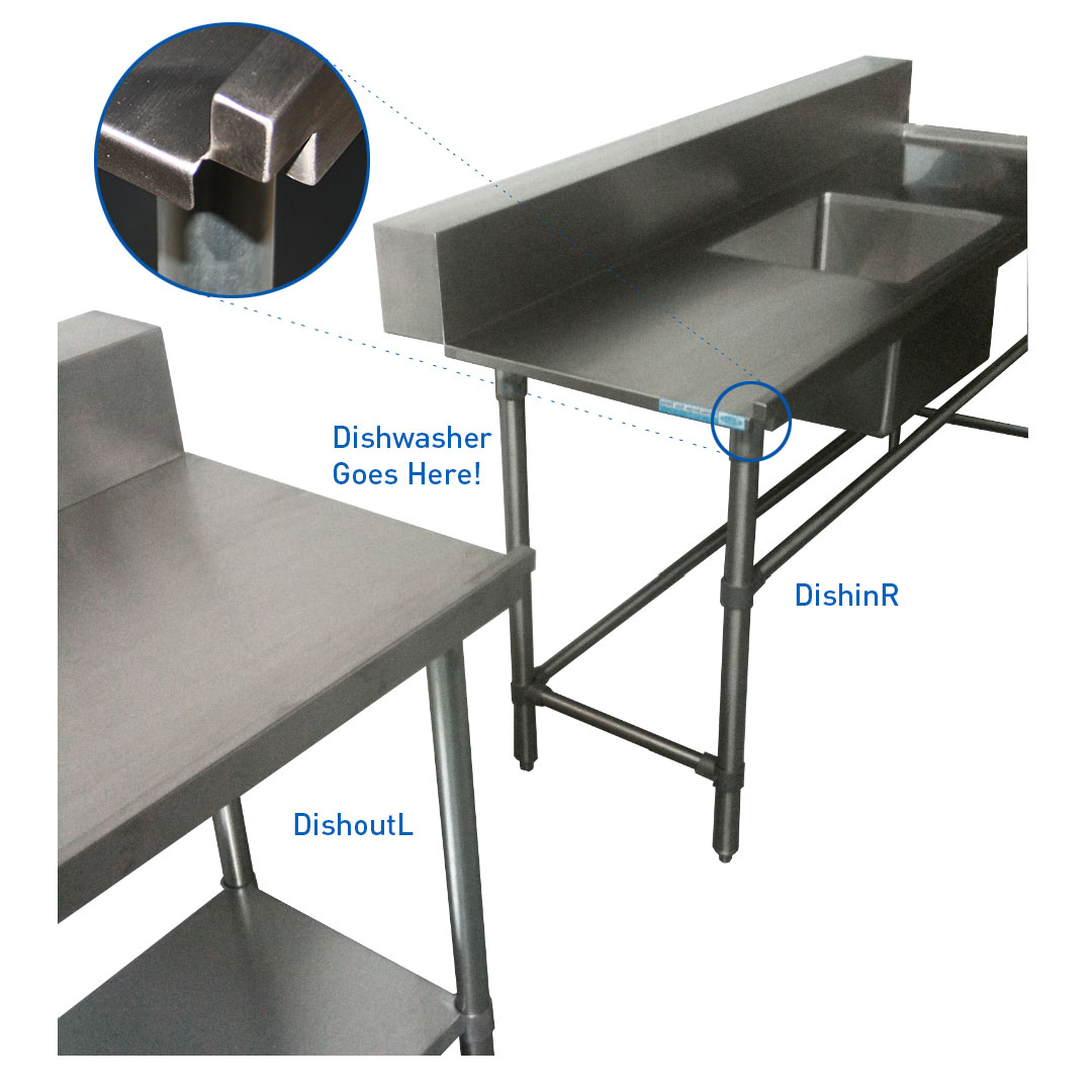 Stainless Dishwasher Outlet Bench, Right Outlet, 800 x 700 x 900mm high.
