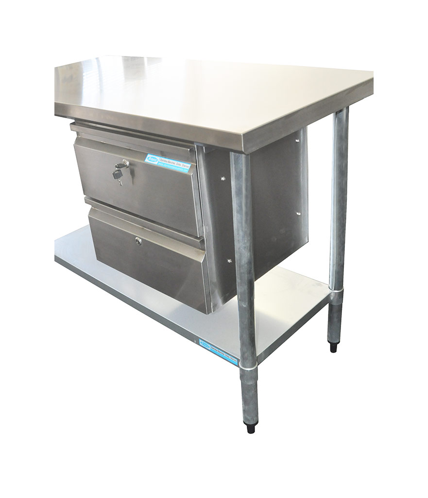 Stainless Steel Double Underbench Drawer, 450 x 480 x 450mm high