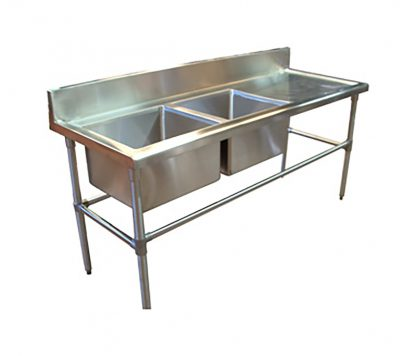 Double Bowl Stainless Steel Commercial Sink - Right Bench, 1700 x 700 x 900mm high.