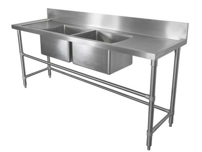 Double Bowl Stainless Sink - Right and Left Bench, 2400 x 610 x 900mm high.