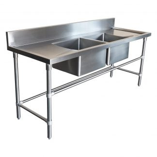 Double Stainless Steel Sink - Right And Left Bench, 2000 x 700 x 900mm high.
