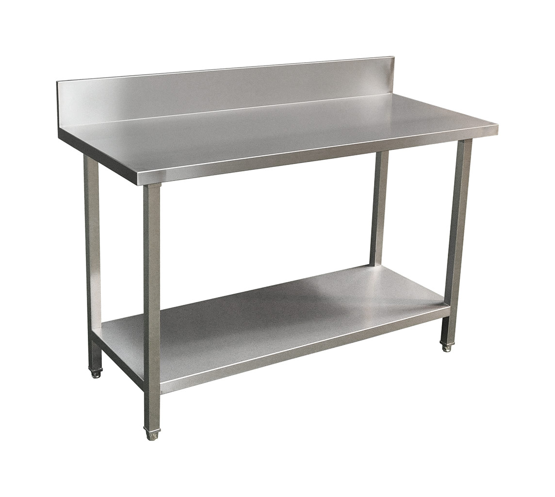 Commercial Grade Stainless Steel Splashback Bench, Premium Range 1400 X 610 X 900mm high