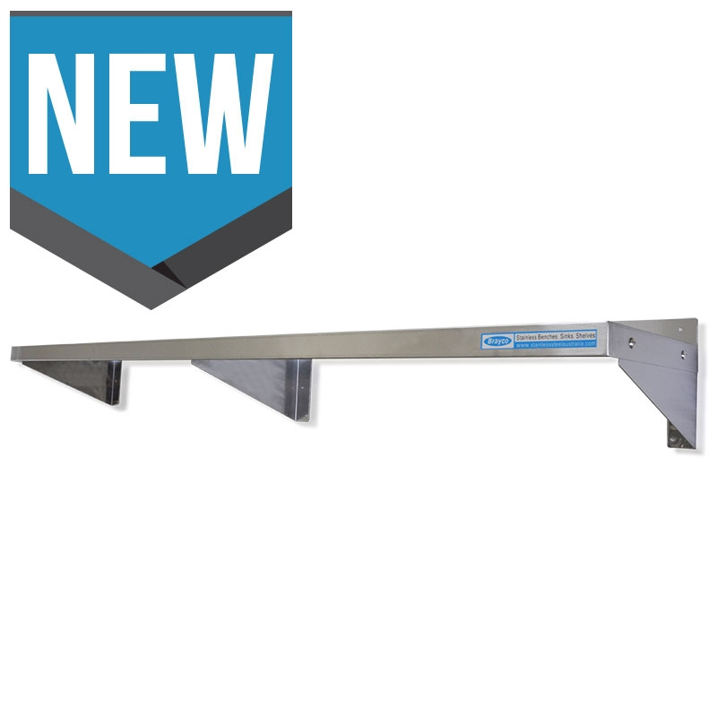 Deep Stainless Wall Mounted Shelf, 2000 X 450mm deep.