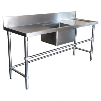 Stainless Steel Catering Sink - Right And Left Bench, 1800 x 610 x 900mm high.