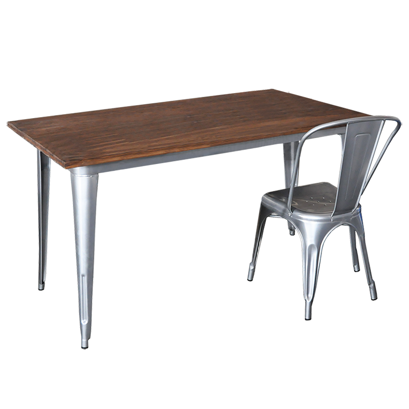 Replica Tolix Wooden Top Table, 140 x 70 x 75cm high, Silver Legs.