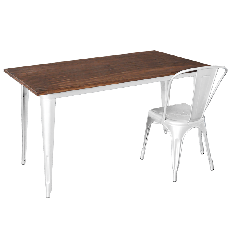 Replica Tolix Wooden Top Table, 140 x 70 x 75cm high, White Legs.