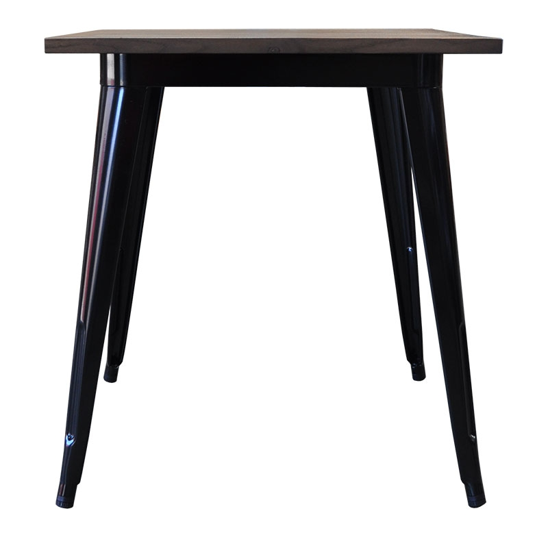 Replica Tolix Wooden Top Table, 60 x 60 x 75cm high, Black Legs.
