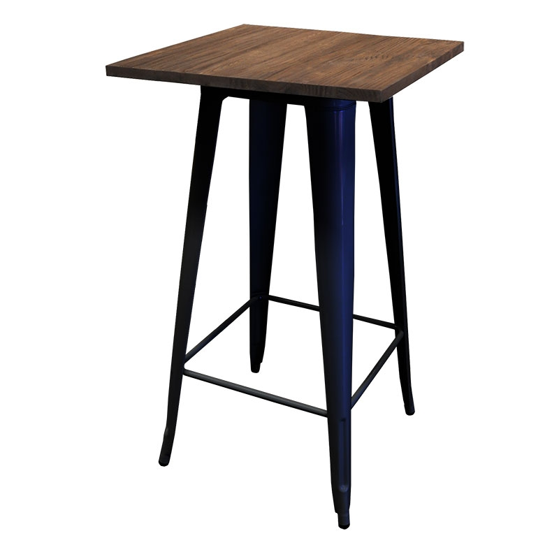 Replica Tolix Wooden Top Bar Table, 60 x 60 x 107cm, black legs