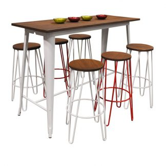 Replica Tolix Wooden Top Table, 152 x 60 x 107cm high, White Legs.