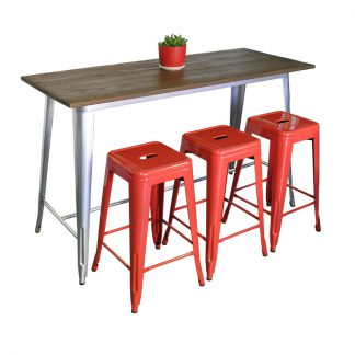 Replica Tolix Wooden Top Table, 152 x 60 x 91cm high, Silver Legs.