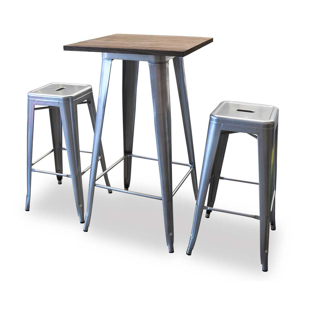 Replica Tolix Wooden Top Bar Table, 60 x 60 x 107cm, Silver Legs,