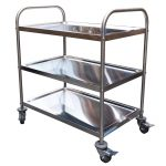 Stainless Steel Trolley, 3-Tier With Castors, 825 X 530 x 800mm high-0
